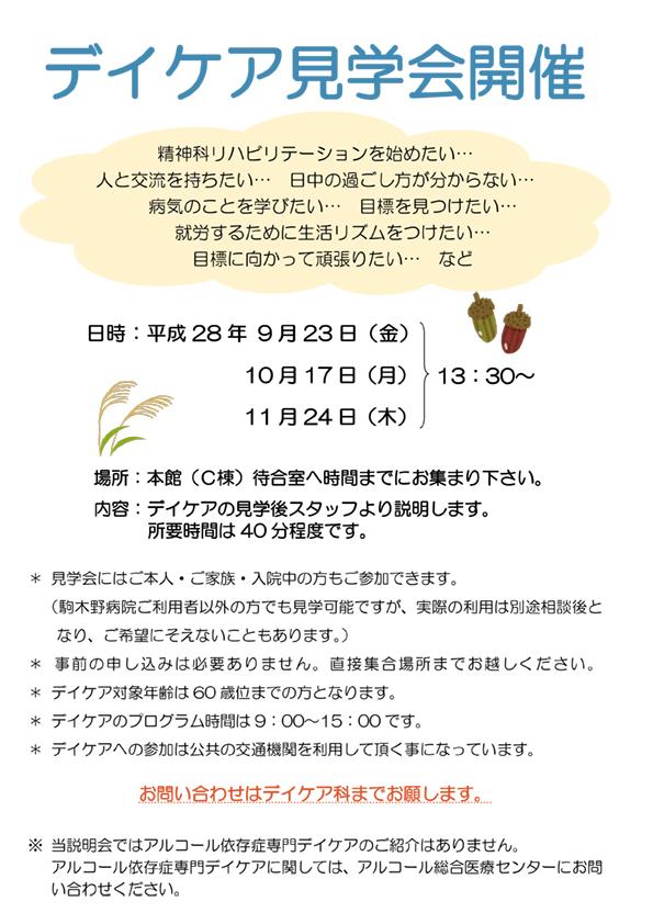 デイケア見学会ポスター2016,9,10,11月